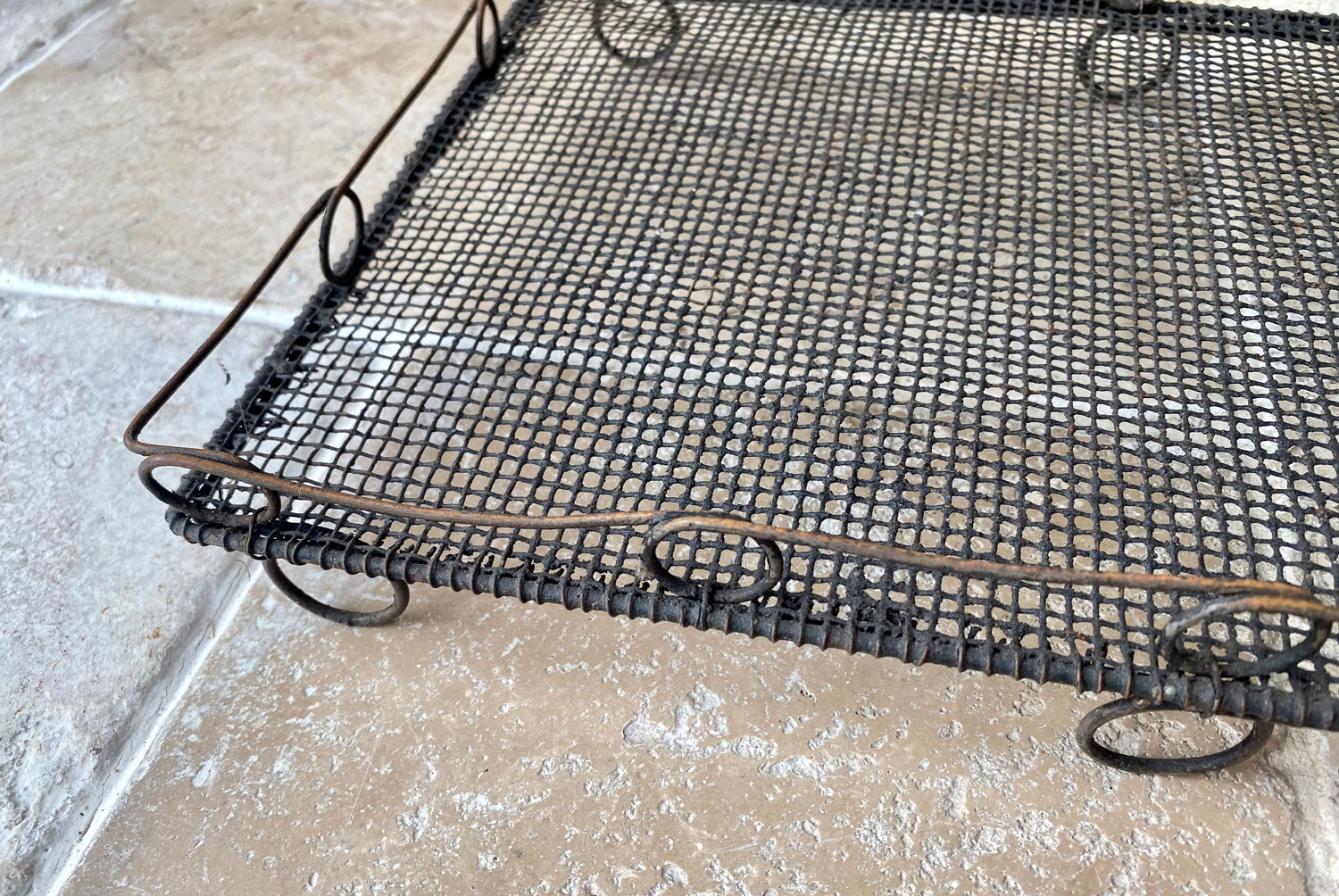 antique victorian 19th century rare wirework cooling cake rack loop top looped rail