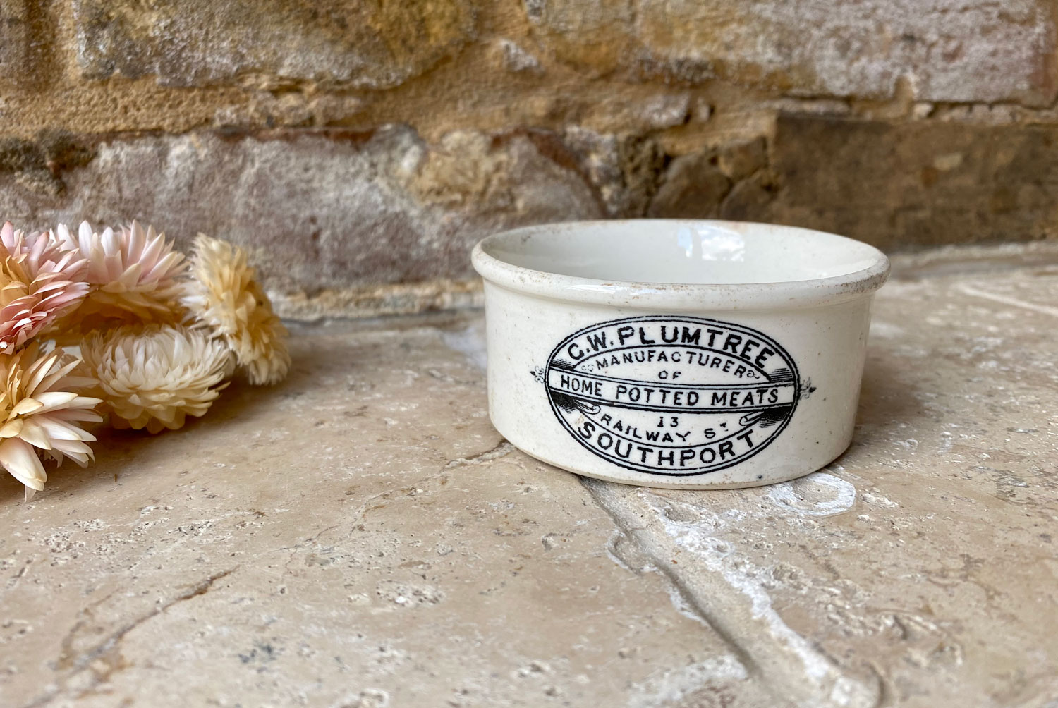 vicotorian antique white ironstone paste potted meat english advertising pot gw plumtree southport