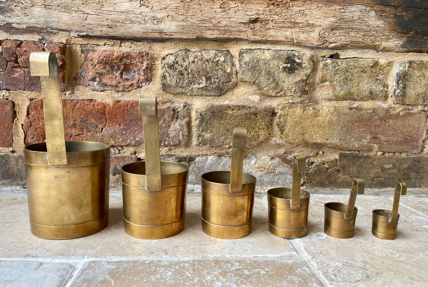 vintage french mid century set six graduated brass hanging measuring cups