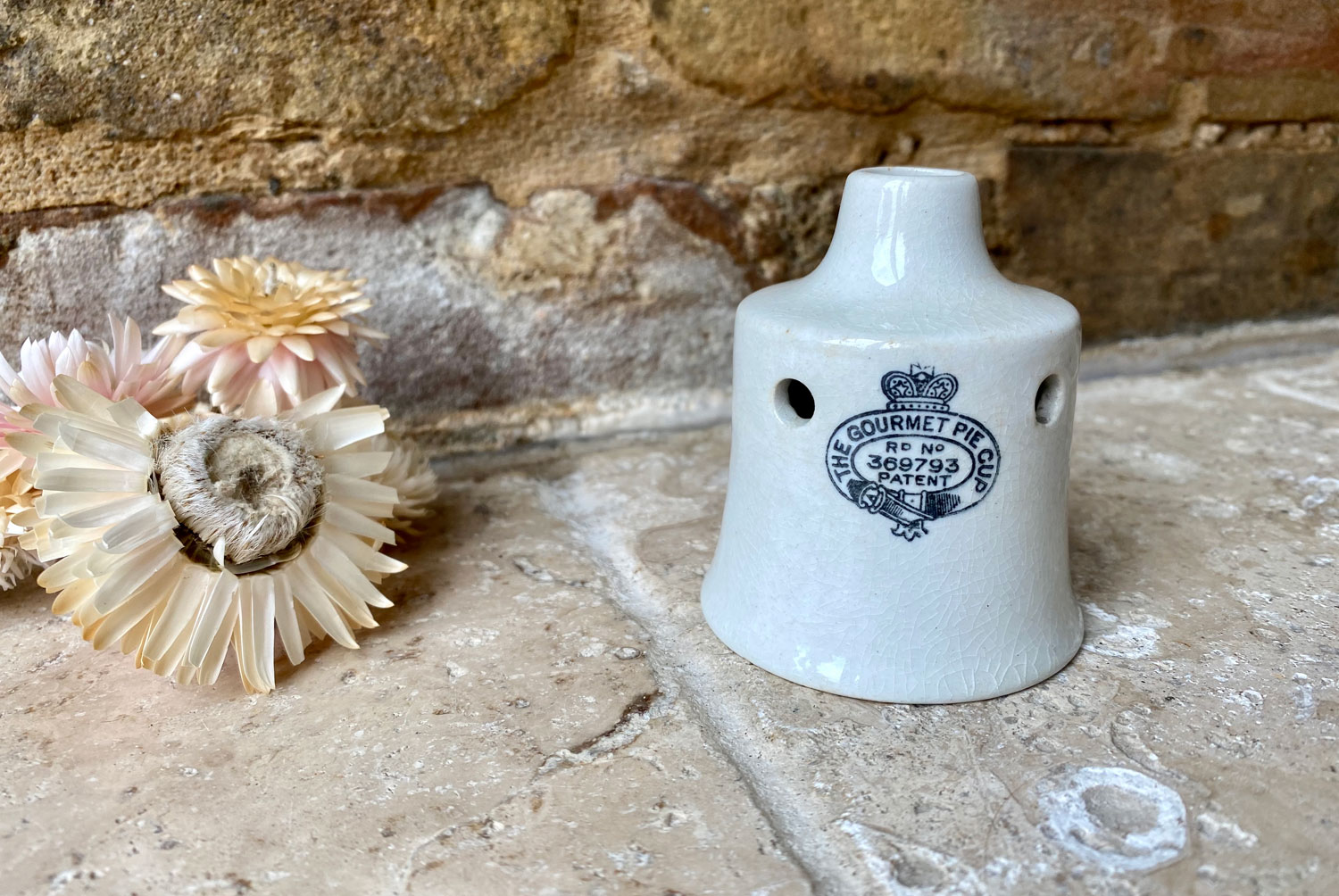 antique edwardian rare shaped gourmet pie cup funnel vent white ironstone