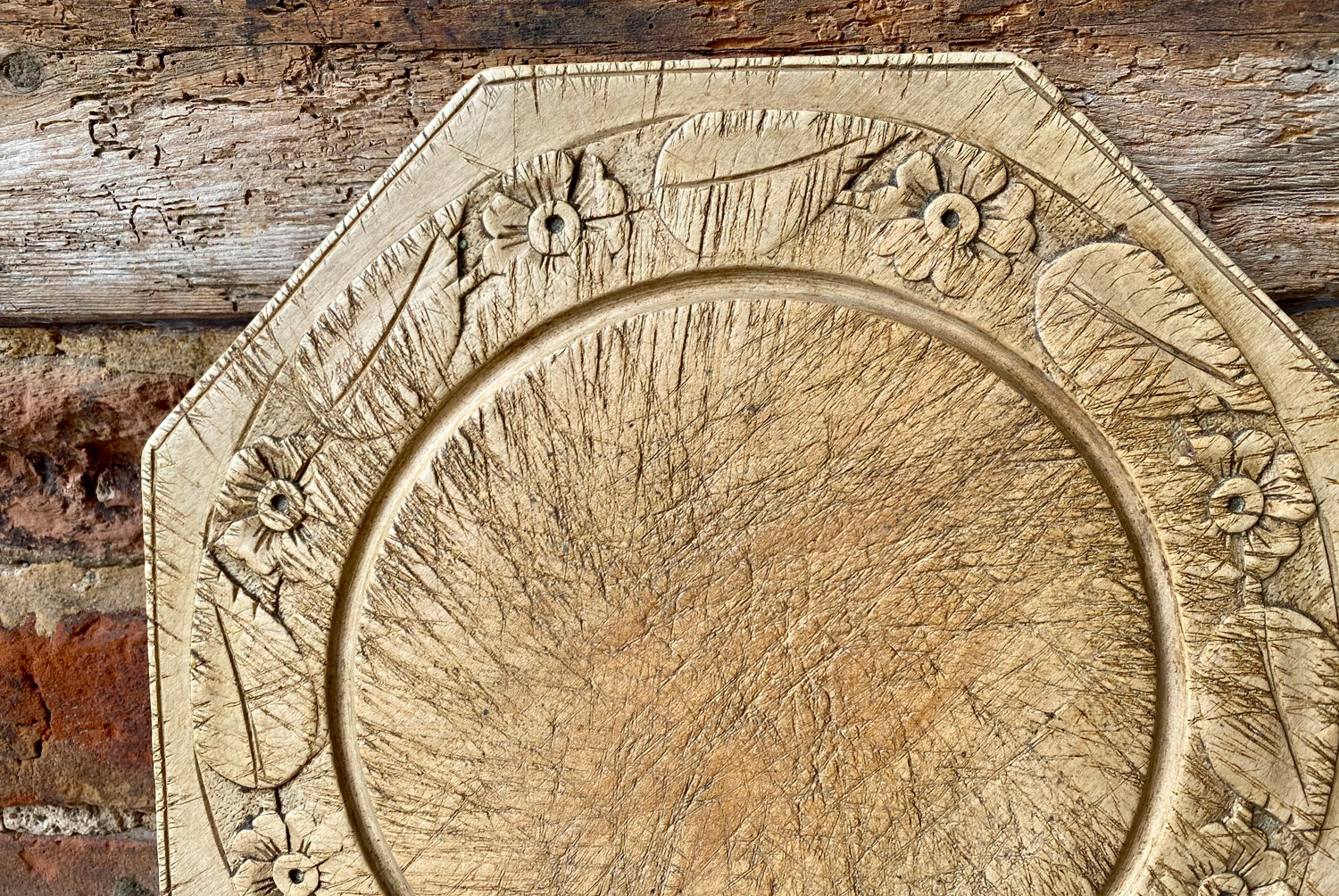 rare shaped antique early 20th century octagonal bread board flowers floral border