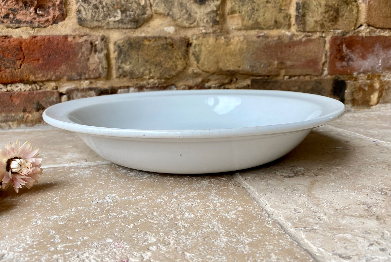 antique french white ironstone large shallow serving pasta salad bowl early 20th Century