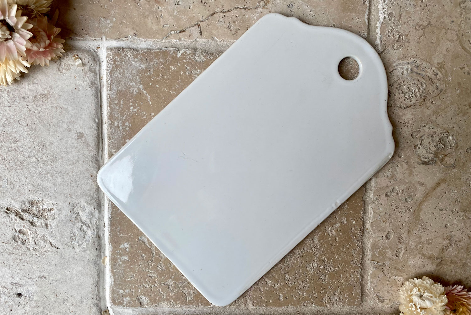 antique early 20th century french plain white ironstone onion cutting board