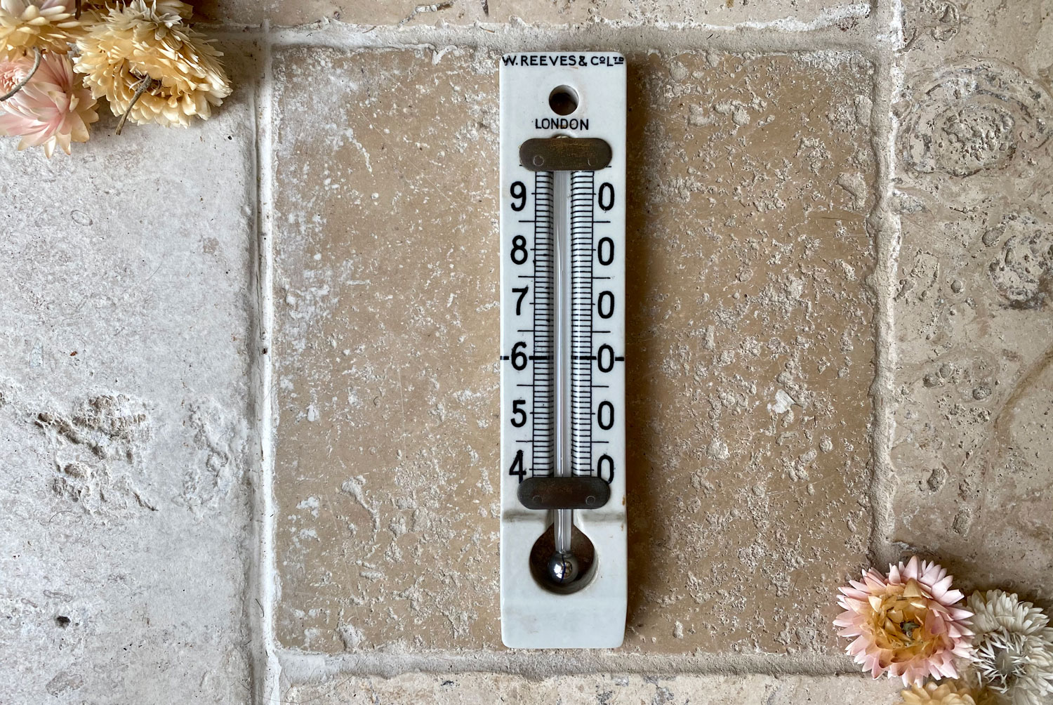 antique victorian edwardian white ironstone cellar household wall thermometer