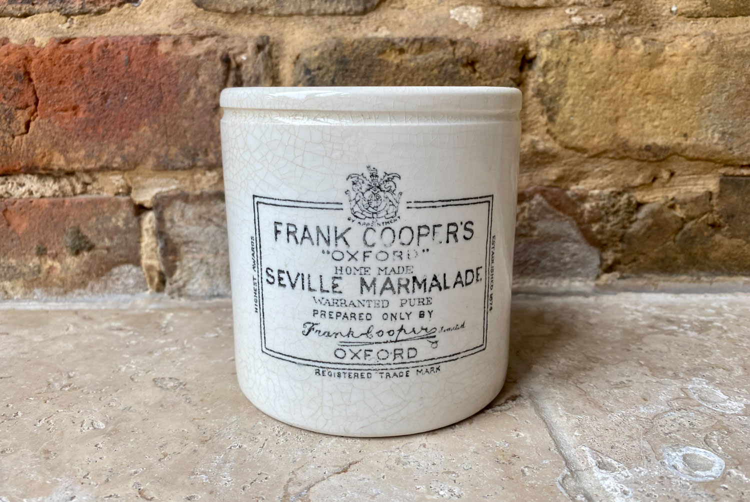 antique victorian rare large english advertising pot white ironstone frank cooper oxford marmalade two pound chubby