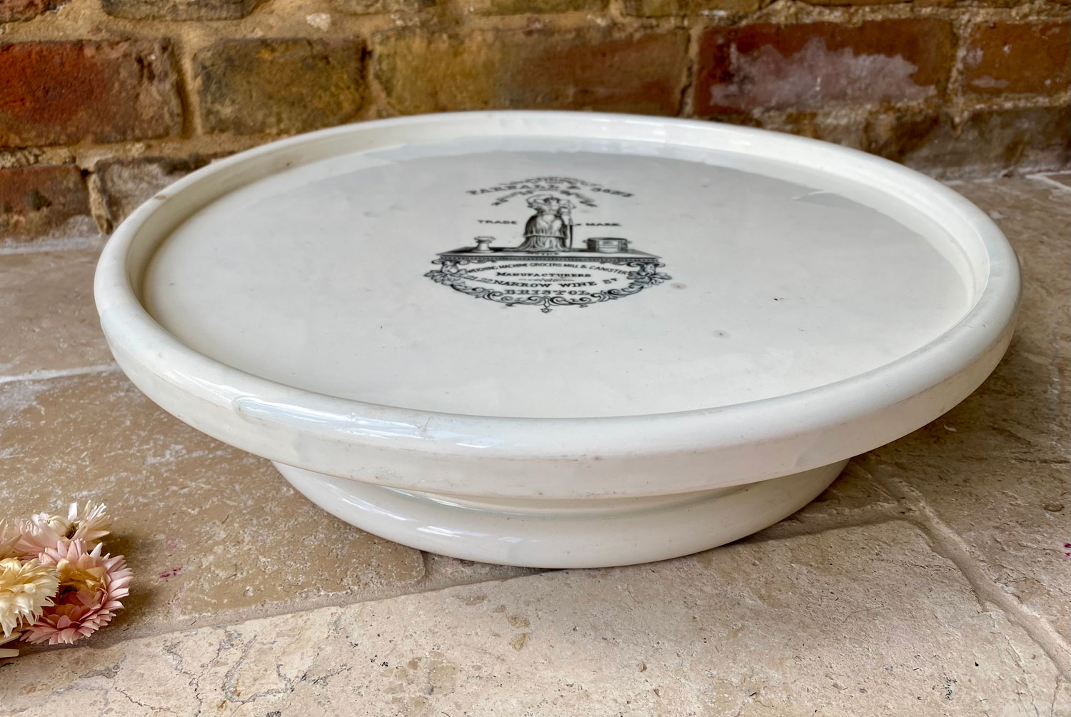 rare large white ironstone circular butchers slab stand plinth wedgwood 1800s advertising parnall sons