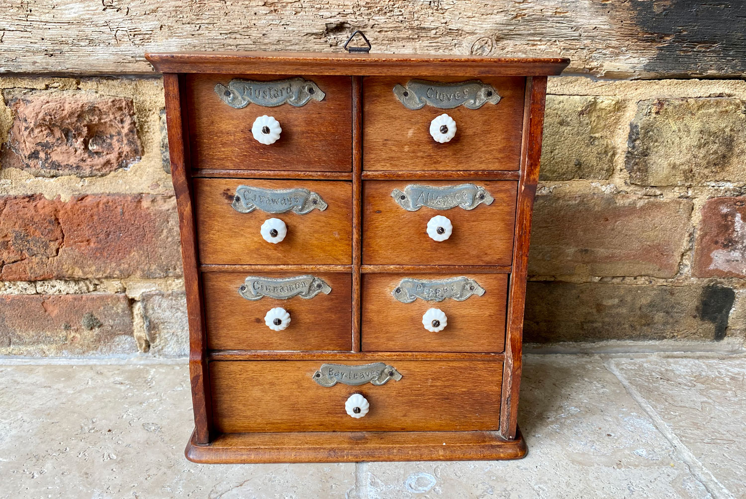 antique victorian treen wooden spice chest drawers porcelain handles