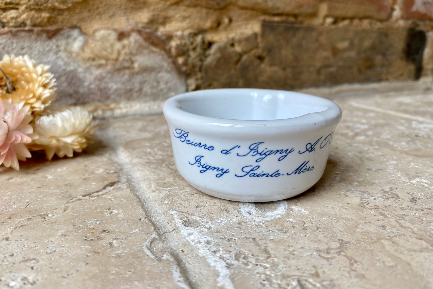 vintage french advertising pot beurre d'isigny chubby white ironstone butter pat