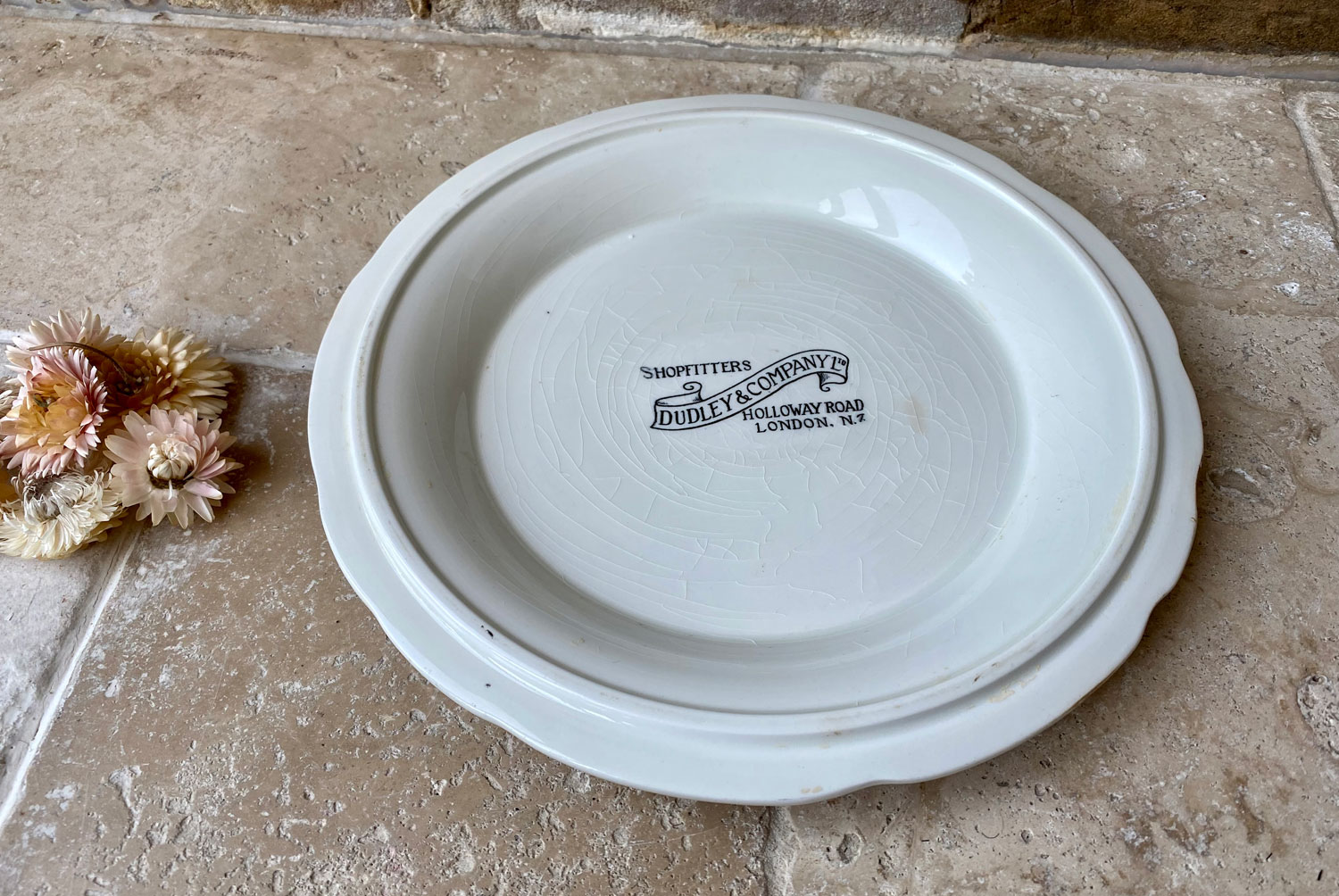 rare antique victorian white ironstone tongue plate platter advertising dudley company shopfitters