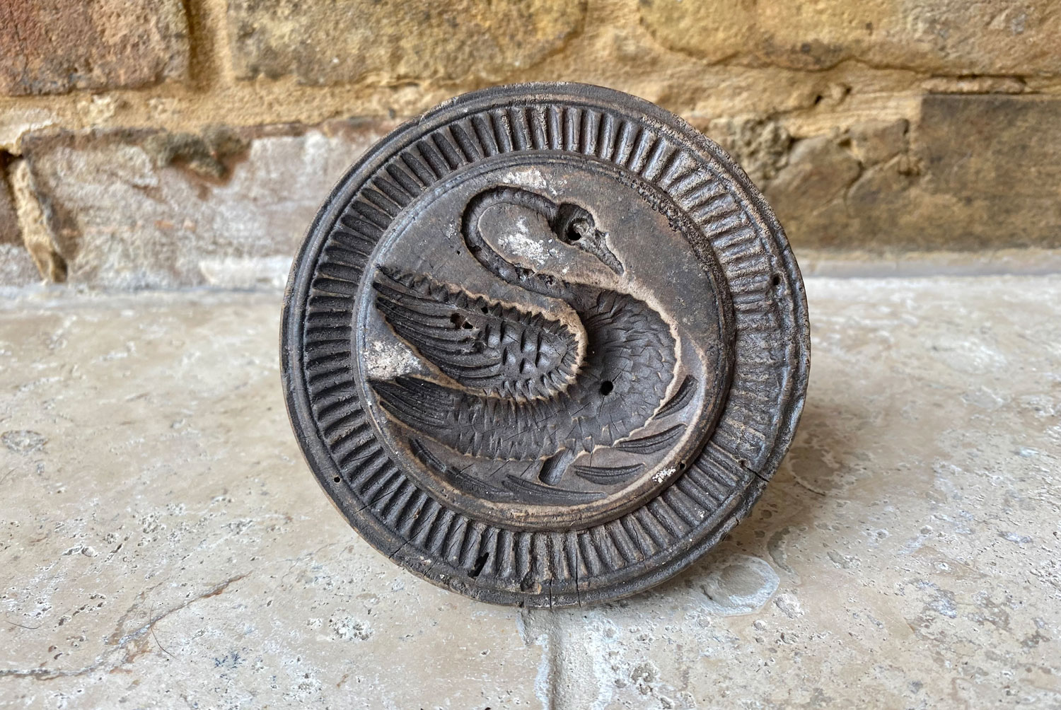 antique large treen wooden english swan butter stamp