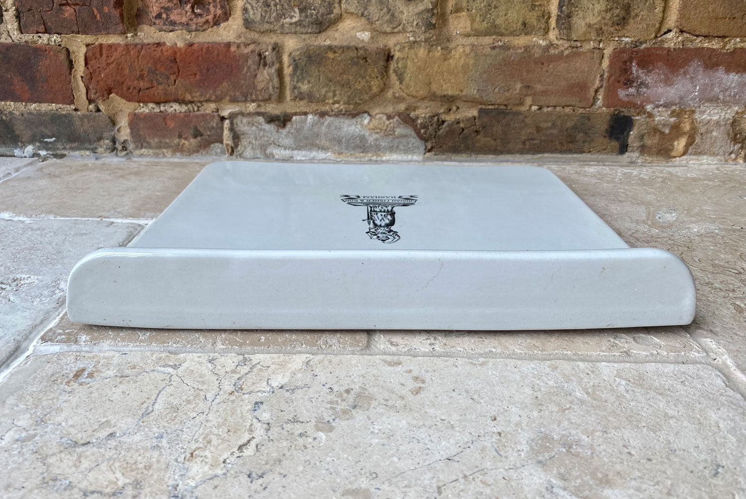 antique victorian large huge white ironstone dairy slab scale plate josiah fisher sons banham justitia fides