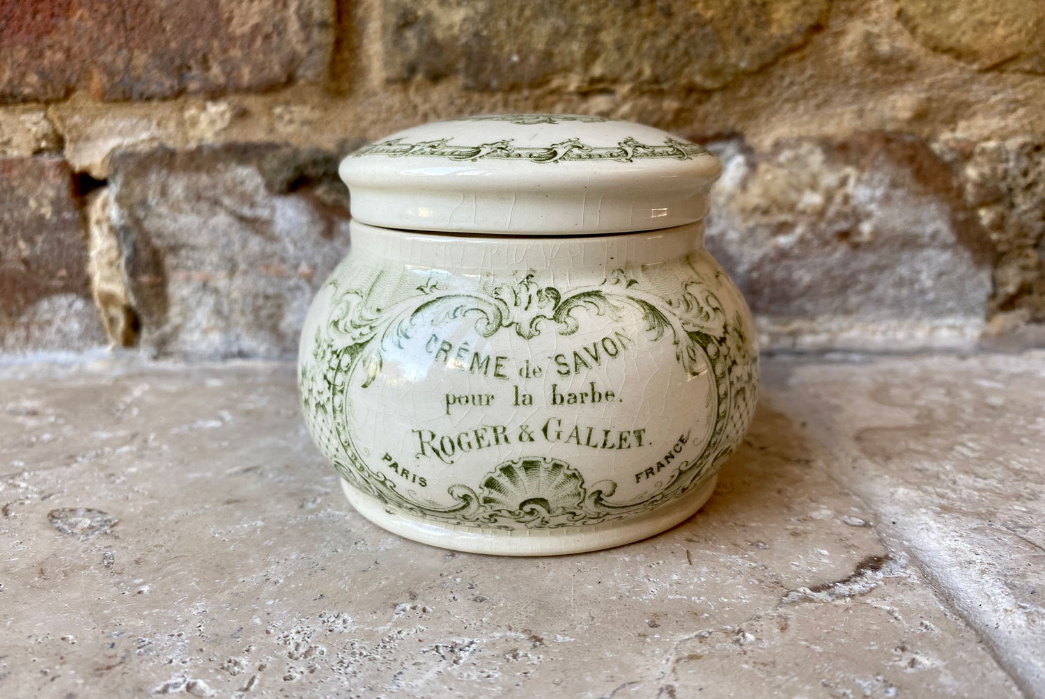 antique early 20th century french white ironstone advertising jar roger gallet creme savon