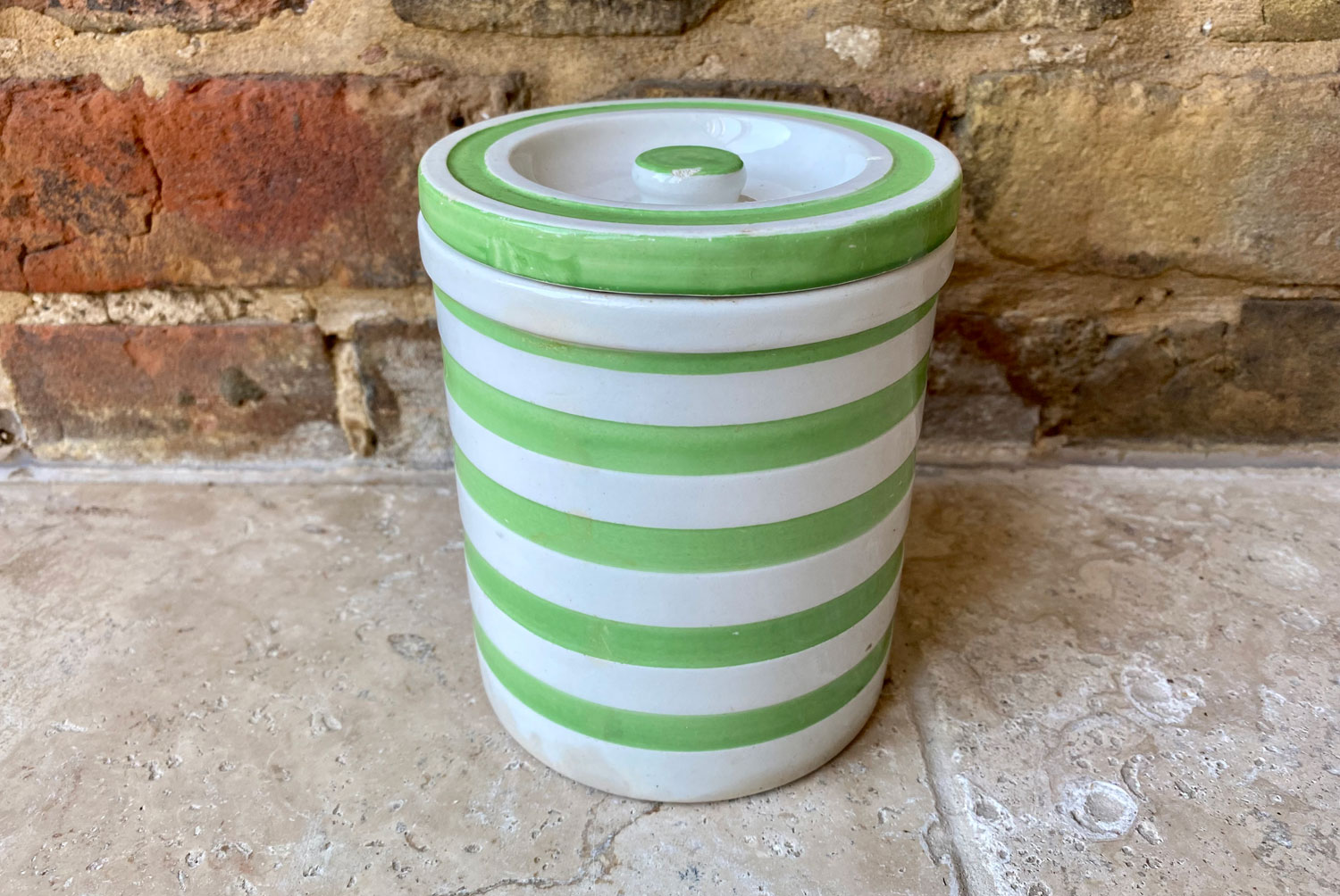 antique 1930s white banded ironstone rare evergreen maling kitchen storage canister jar evergreen
