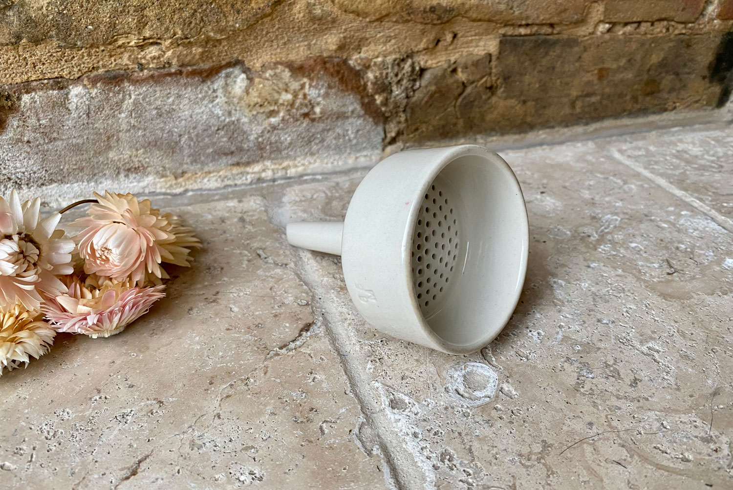 antique white ironstone early 20th century english small minature funnel sieve
