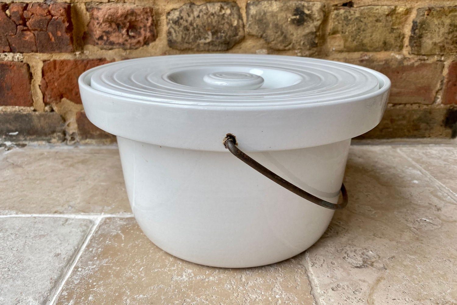 antique early 20th century english grimwades white ironstone lidded slop bucket