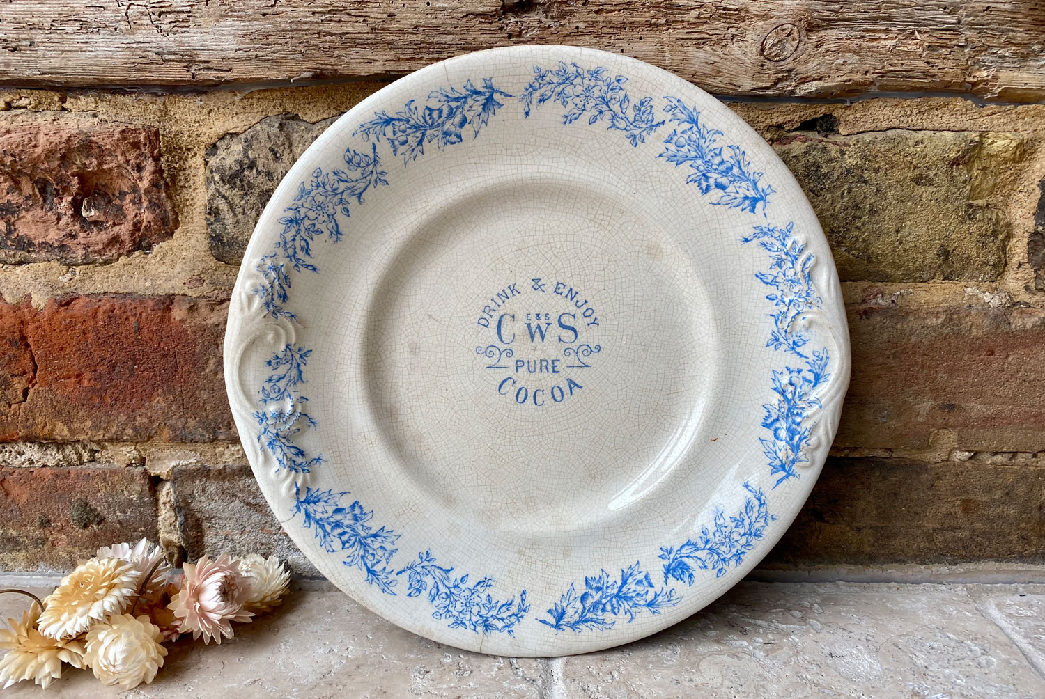 antique victorian advertising plate platter CWS pure cocoa English Welsh cooperative wholesale society