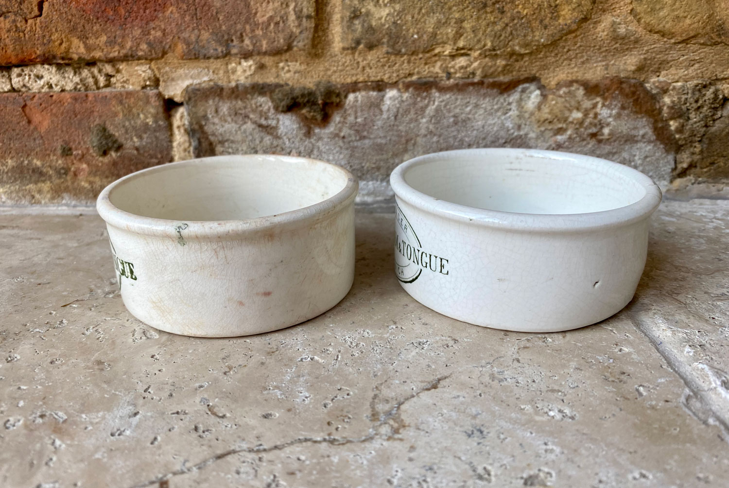 antique victorian rare green seagers ipswich potted meat ham tongue paste pot english advertising