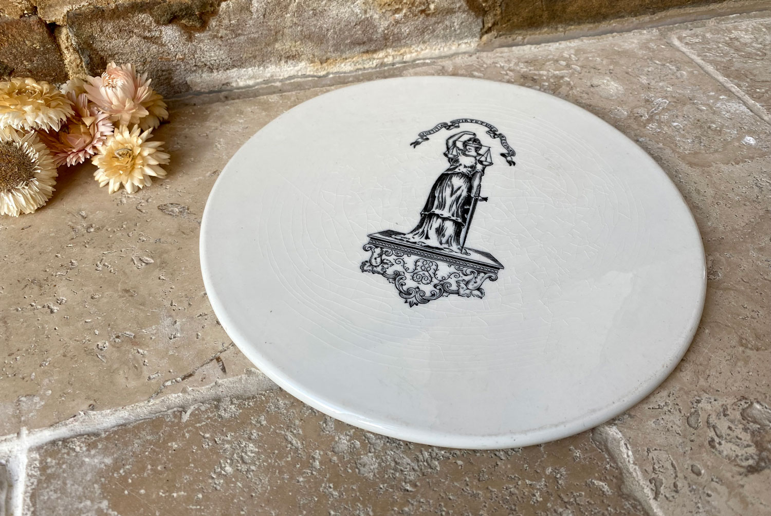 antique edwardian white ironstone advertising scale plate justitia fides black transfer print cheese slab plate