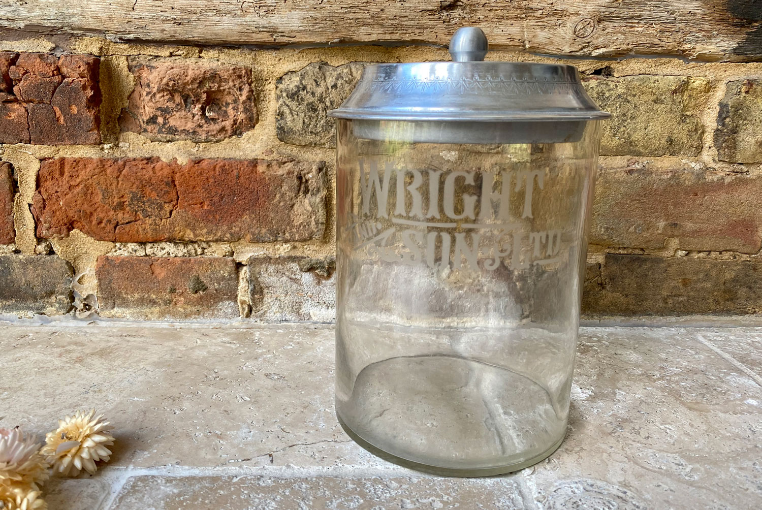 antique early 20th century edwardian grocers shop advertising display glass jar wright sons biscuits