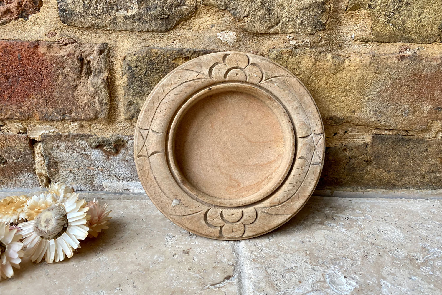 antique early 20th century carved english wooden treen butter board dish