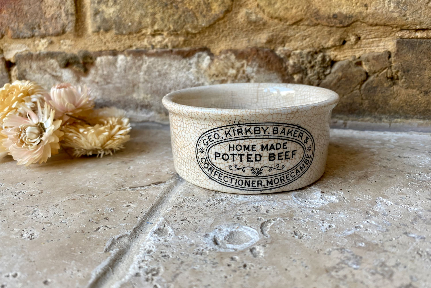 antique victorian english advertising white ironstone paste pot geo kirkby morecambe potted beef