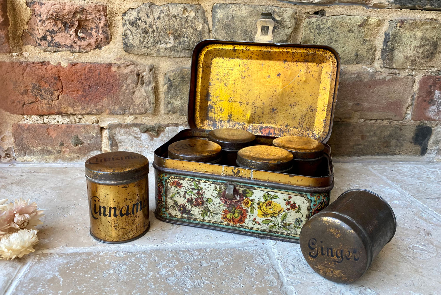 antique victorian toleware spice tin six spice canisters floral decoration
